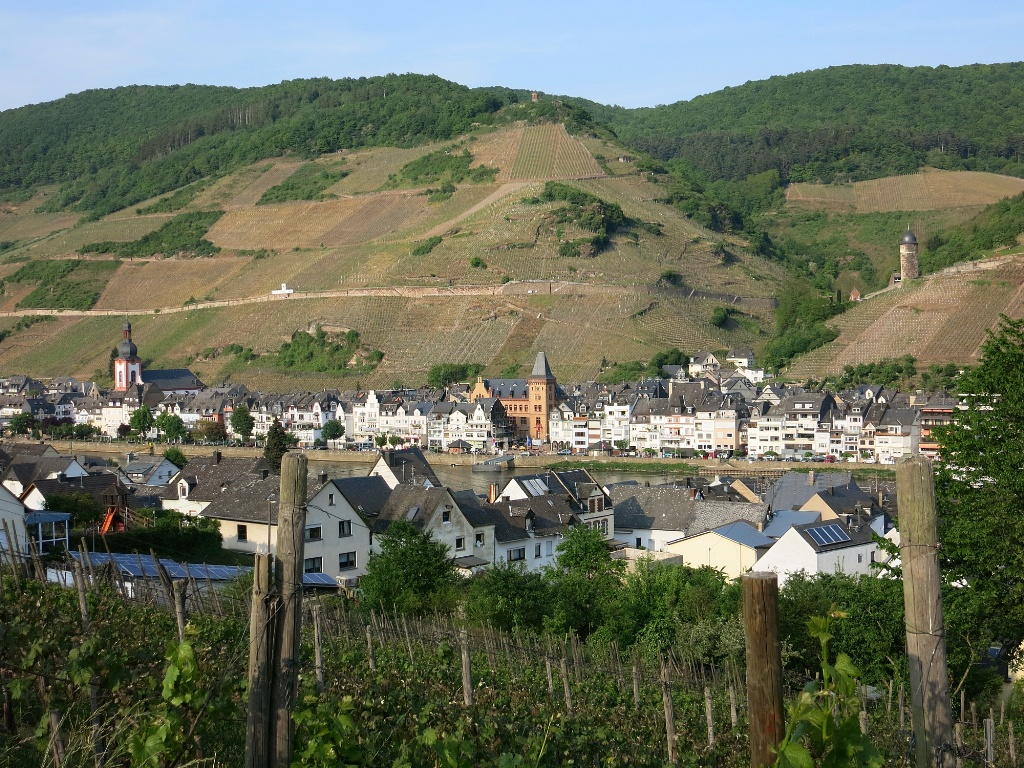 view of zell germany across the mosel. Black Bedroom Furniture Sets. Home Design Ideas
