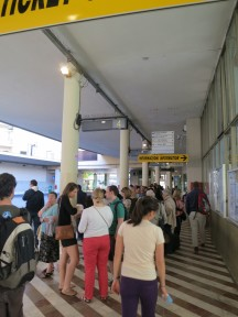 Waiting for the bus at the Sita bus station in Florence