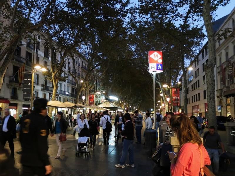 La Rambla at dusk Barcelona Spain