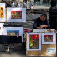 Street artist on La Rambla Barcelona Spain