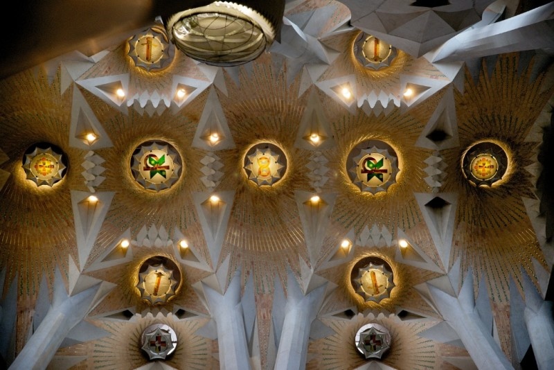 Ceiling La Sagrada Familia Barcelona Spain