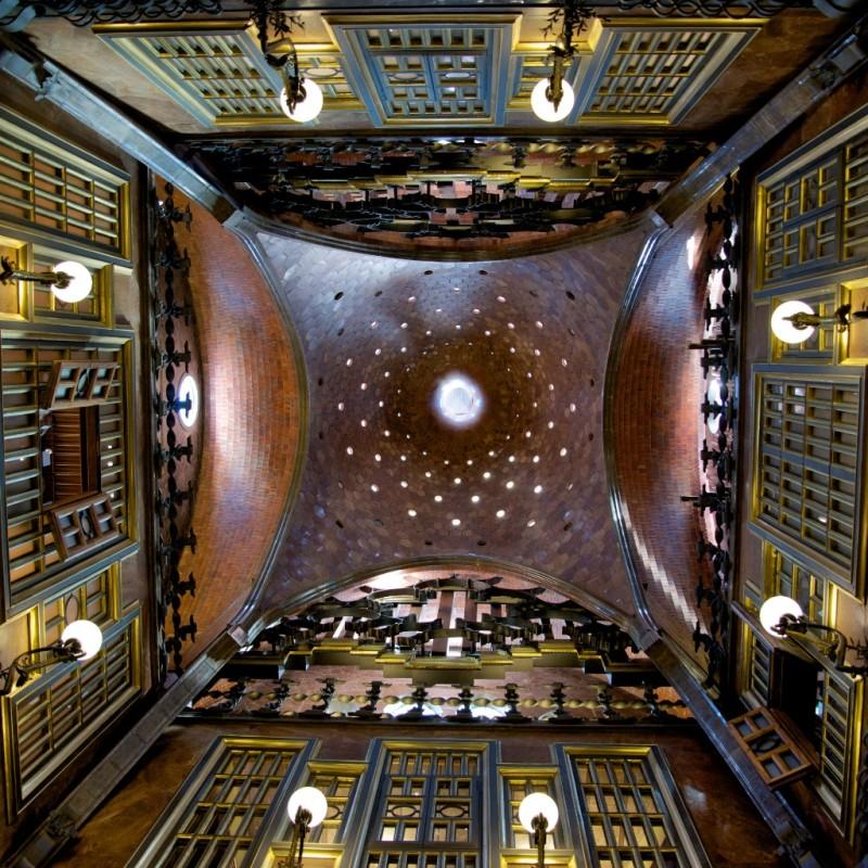 Central Hall Domed Ceiling Palau Güell Barcelona Spain