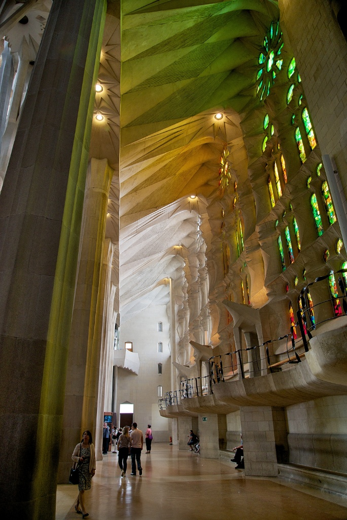 Lateral Aisle Stained Glass Windows La Sagrada Familia Barcelona