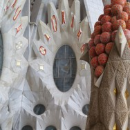 Oval Window and Fruit Topped Tower La Sagrada Familia Barcelona