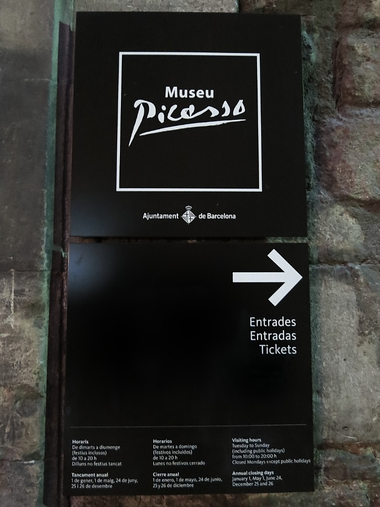 Sign at Entrance Picasso Museum Barcelona Spain
