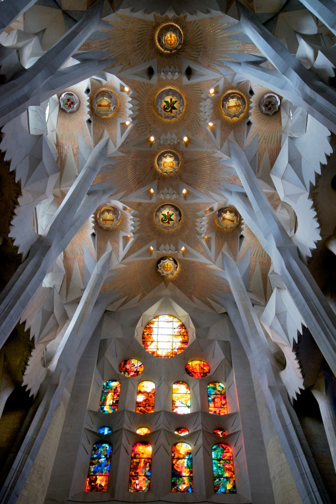 Stained Glass and Ceiling La Sagrada Familia Barcelona
