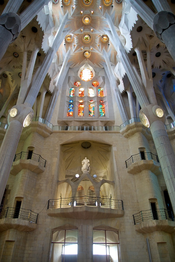 Statue and Stained Glass in Transept La Sagrada Familia Barcelona