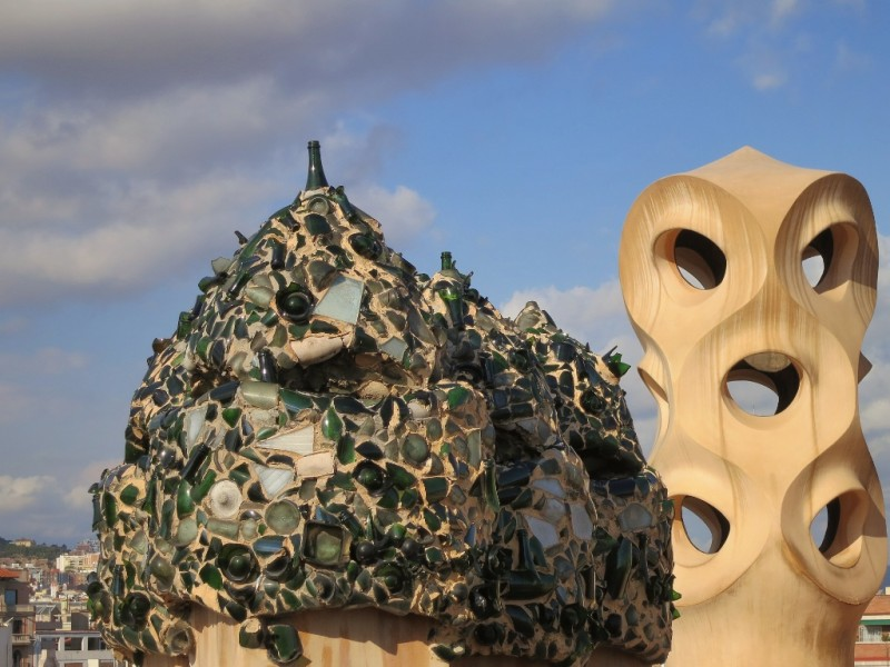 Broken Glass Mosaic Rooftop Sculpture La Pedrera-Casa Milà Barcelona Spain