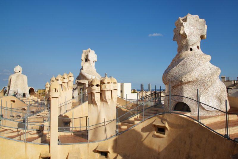 Rooftop Statues and Mosaic Crosses La Pedrera Barcelona