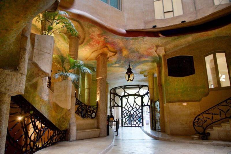 Wall Mural and Iron Railings in Courtyard La Pedrera Barcelona