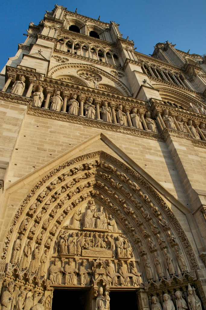 Carved Masonry West Facade Notre Dame Paris France