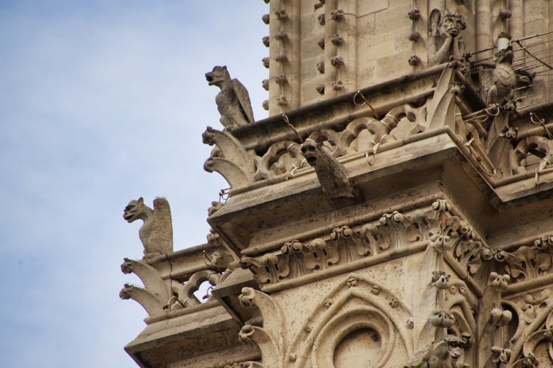 Chimeras and Gargoyles North Bell Tower Notre Dame Paris France