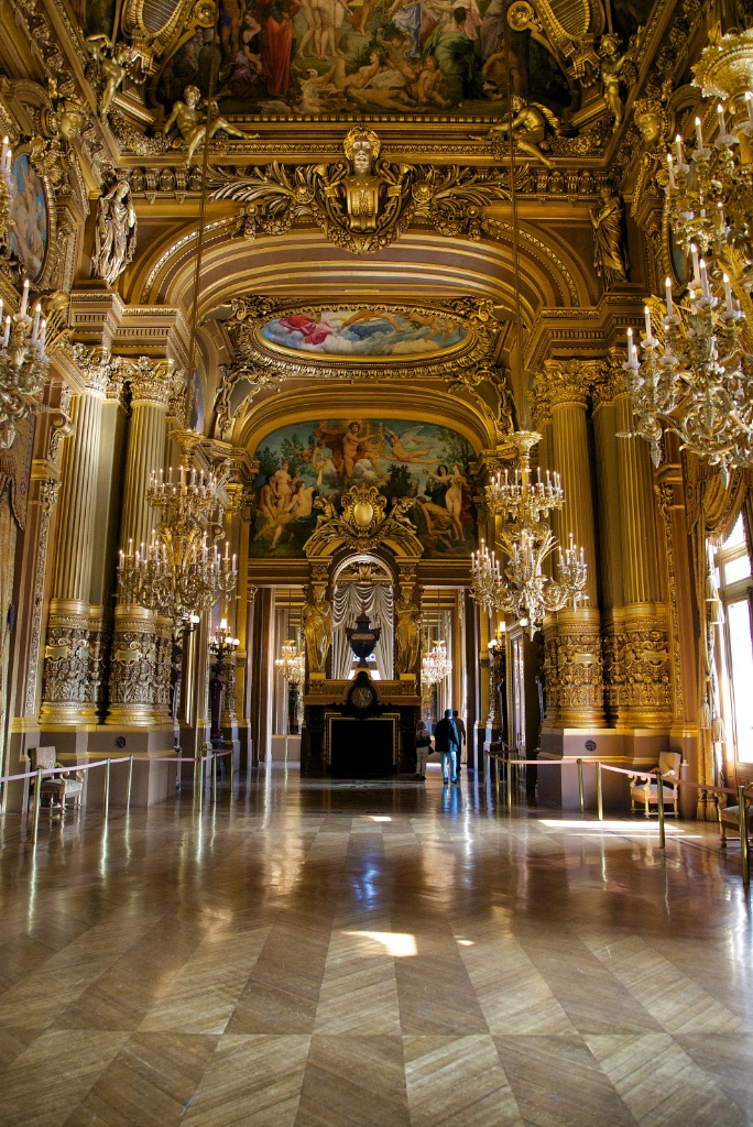 The Grand Foyer Palais Garnier : Grand foyer frescoes and fireplace palais garnier paris