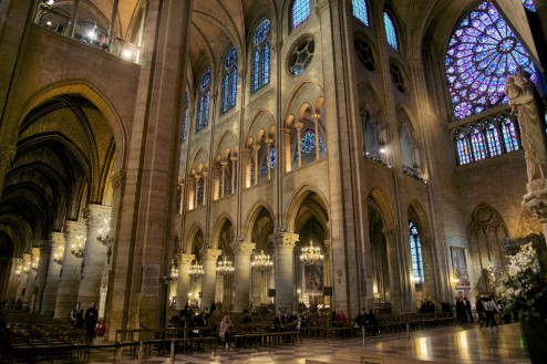 North Rose Window and Transept Notre Dame Paris France