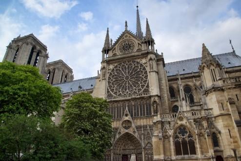 South Rose Window Exterior Notre Dame Paris France