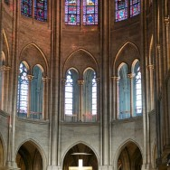 Stained Glass in Apse Notre Dame Paris France