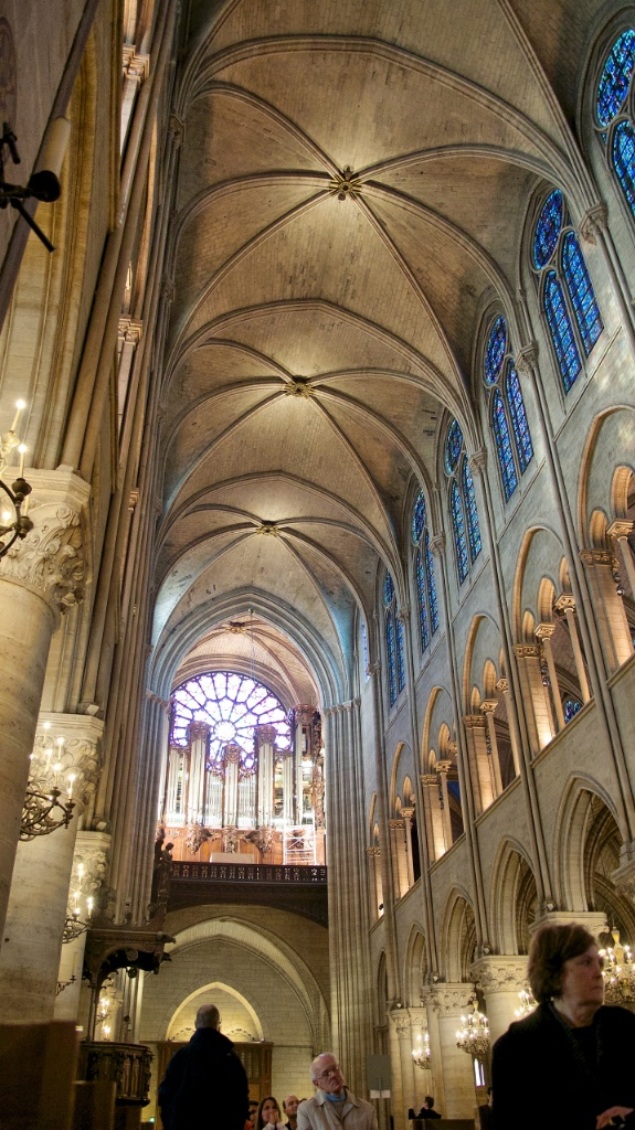 Vaulted Arches and Great Organ Notre Dame Paris France