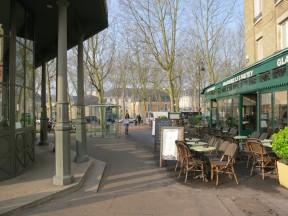 Cafe and green metal glass kiosk Versailles