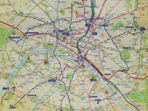 Metro RER map Paris France