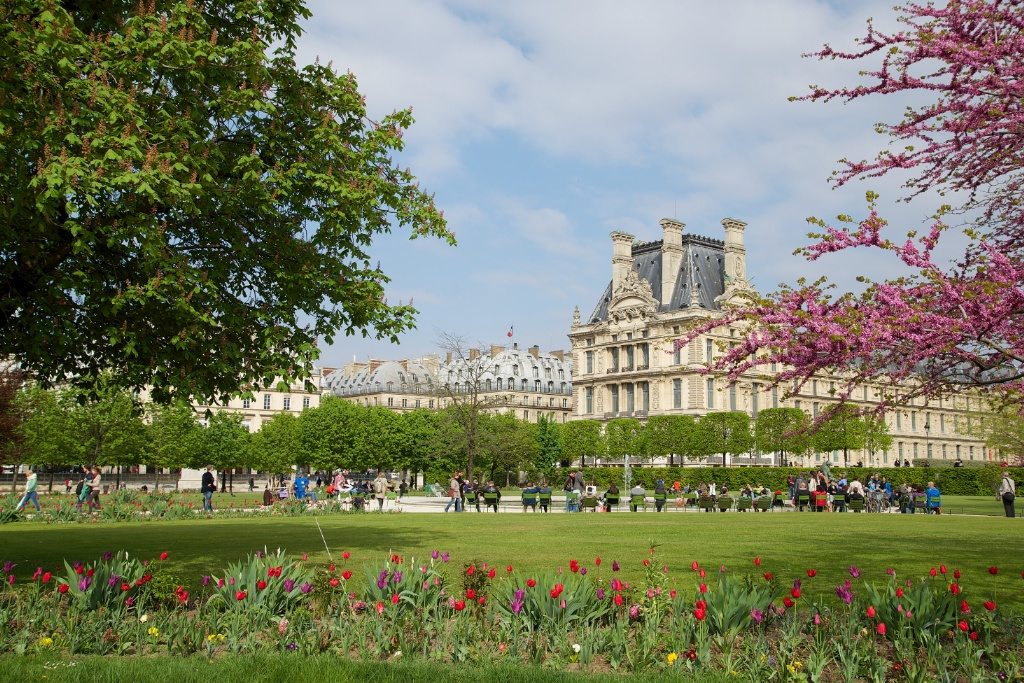 Musee du louvre as seen from tuileries gardens paris france - Sculpture jardin des tuileries ...