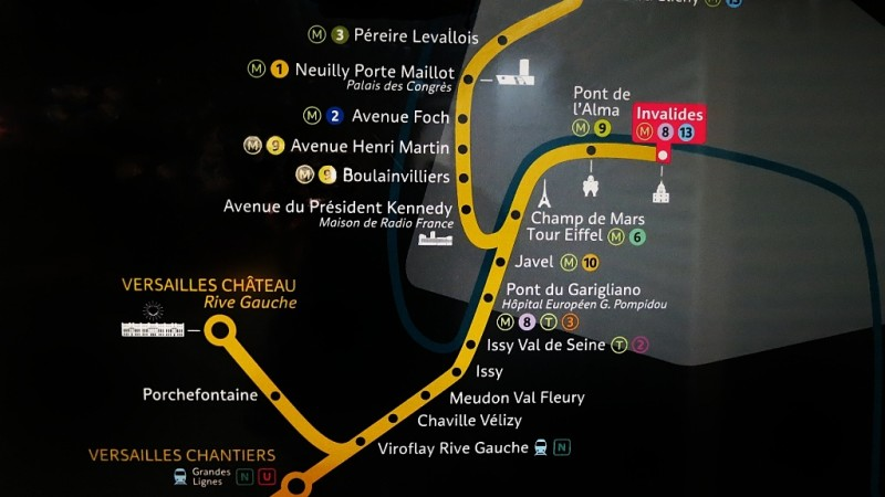 Paris to Versailles RER Map