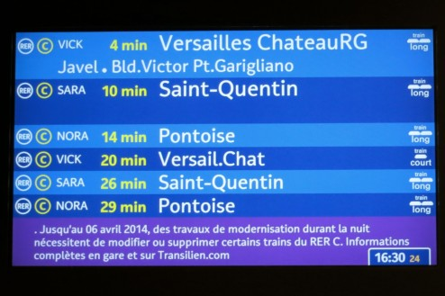 RER Schedule Screen at Platform Paris France