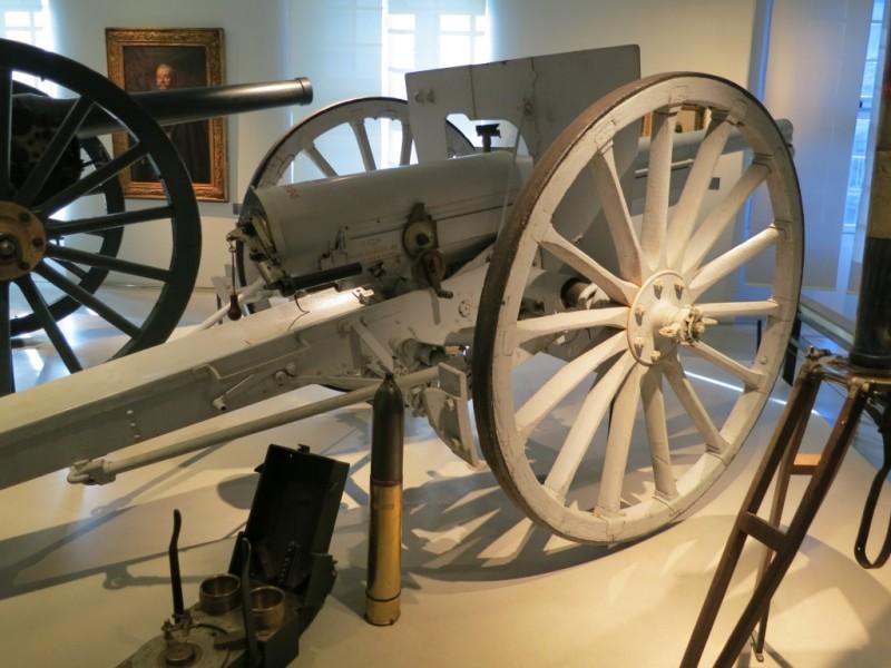 Artillery Cannons and Shell Contemporary Exhibit Two World Wars Musée de l'Armée Invalides Paris France