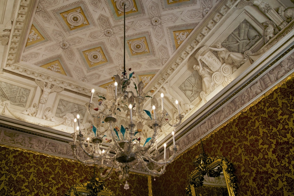 Murano Glass Chandelier And Ornate Ceiling Lombardy