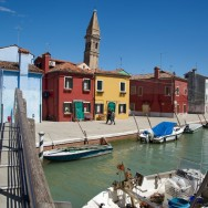 View from Canal Bridge Burano Italy
