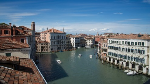 View of Grand Canal from Ca' Rezzonico Venice Italy