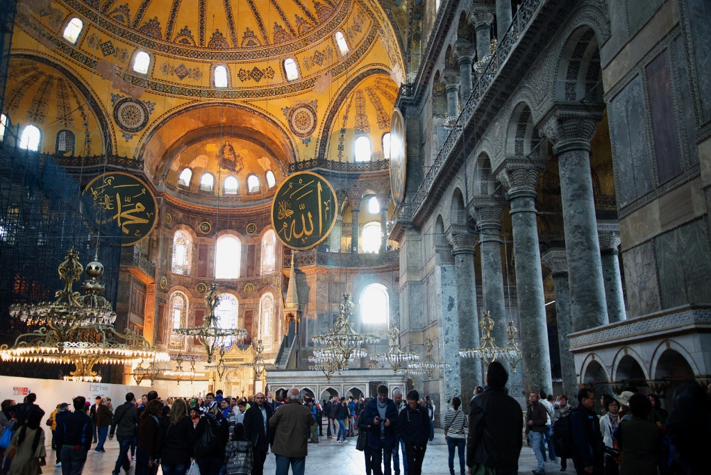 Hagia sophia interior with scaffolding istanbul turkey
