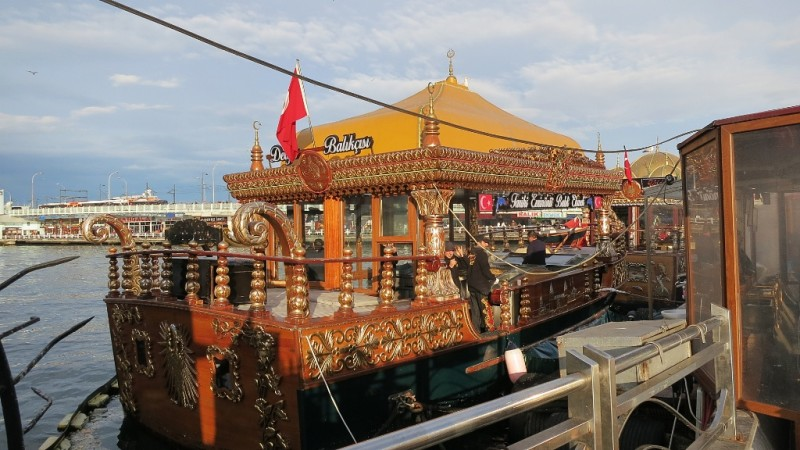 Floating Kitchen Fish Restaurant Galata Bridge Istanbul Turkey