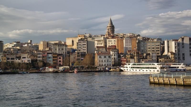 Istanbul 'New City' North Shore View from Galata Bridge Istanbul Turkey