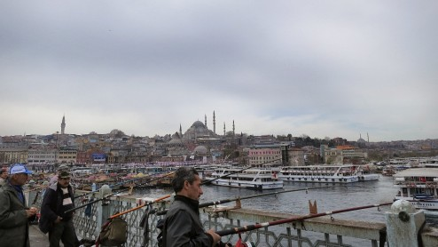 Istanbul 'Old City' South Shore View from Galata Bridge Istanbul Turkey