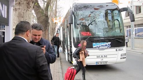 Havataş bus stop Taksim Istanbul Turkey