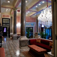 Marble Columns and Chandeliers in Lobby Pera Palace Hotel Istanbul Turkey