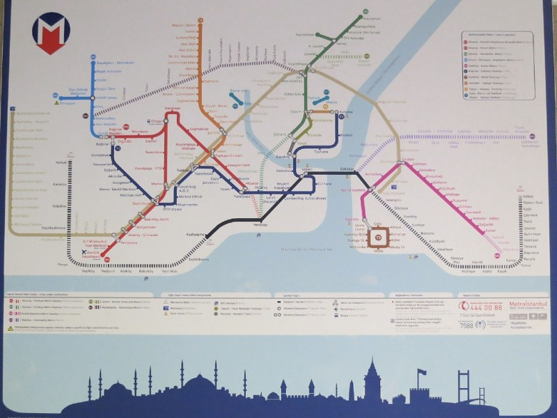 Public transportation map Istanbul Turkey