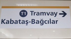 Sign to T1 Tram Istanbul Turkey