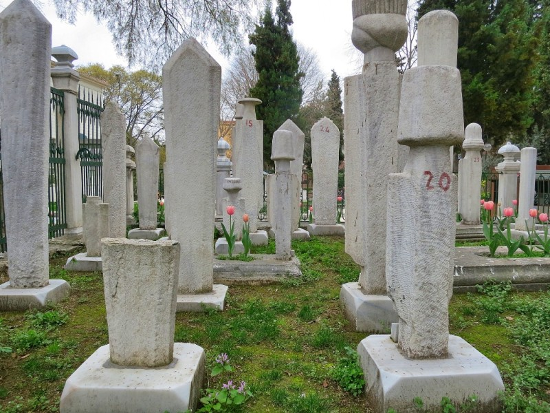 Tombstones in Mevlevi Cemetery Whirling Dervish Museum Istanbul Turkey