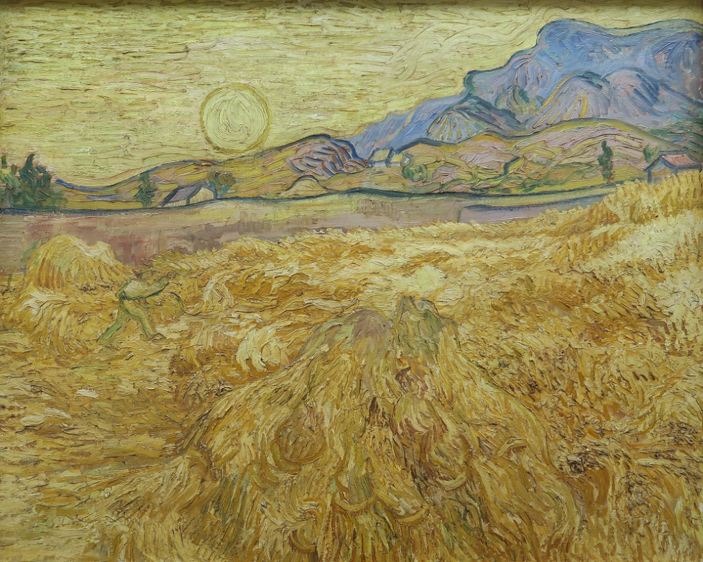Wheat Field with Reaper and Sun Vincent van Gogh Kroller ...