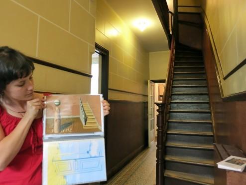 Stairway in Entrance Hall Rene Magritte Museum Jette Brussels Belgium