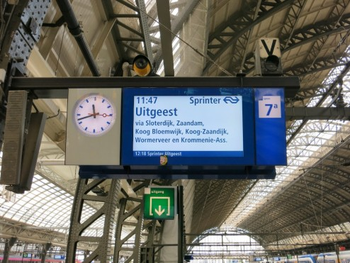 Information Monitor on Platform Central Station Amsterdam