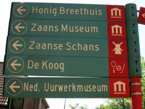 Sign to Zaanse Schans Holland