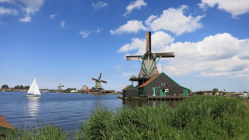 View of Windmills and River Zaanse Schans Holland