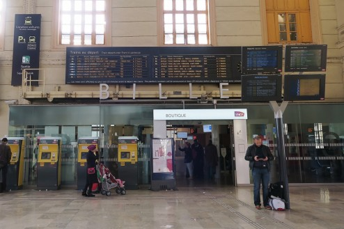 Information Board Departure Platforms Train Station Marseille France