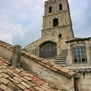 Tower of Saint Trophime Church view from Cloister of Saint Trophime Arles France