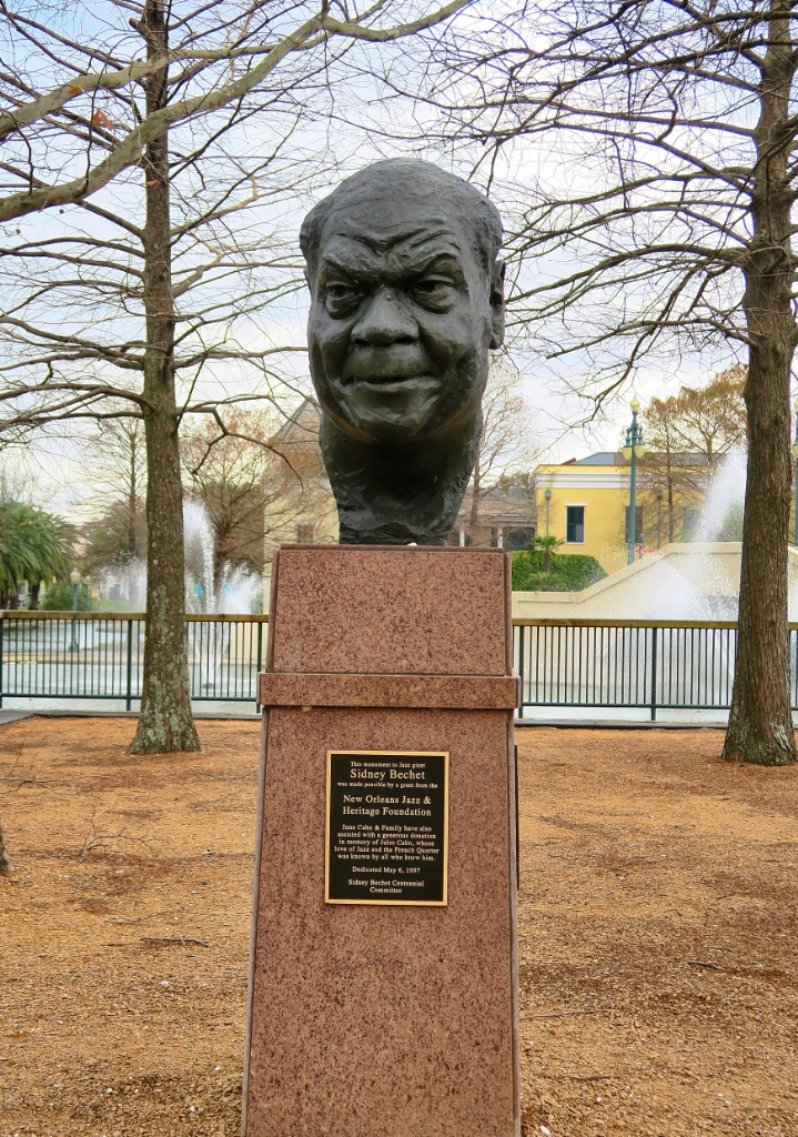 Bust of Sidney Bechet Louis Armstrong Park New Orleans