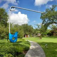 Corridor Pin Blue by Van Bruggen and Oldenburg NOMA sculpture garden New Orleans