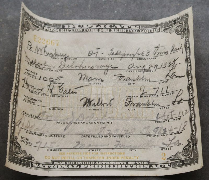 Prohibition Era Liquor Prescription Pharmacy Museum New Orleans