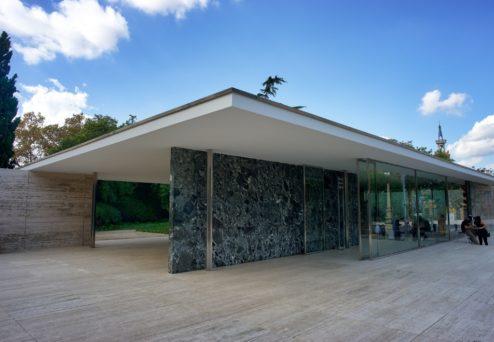 Entrance Mies Van Der Rohe Pavilion Barcelona